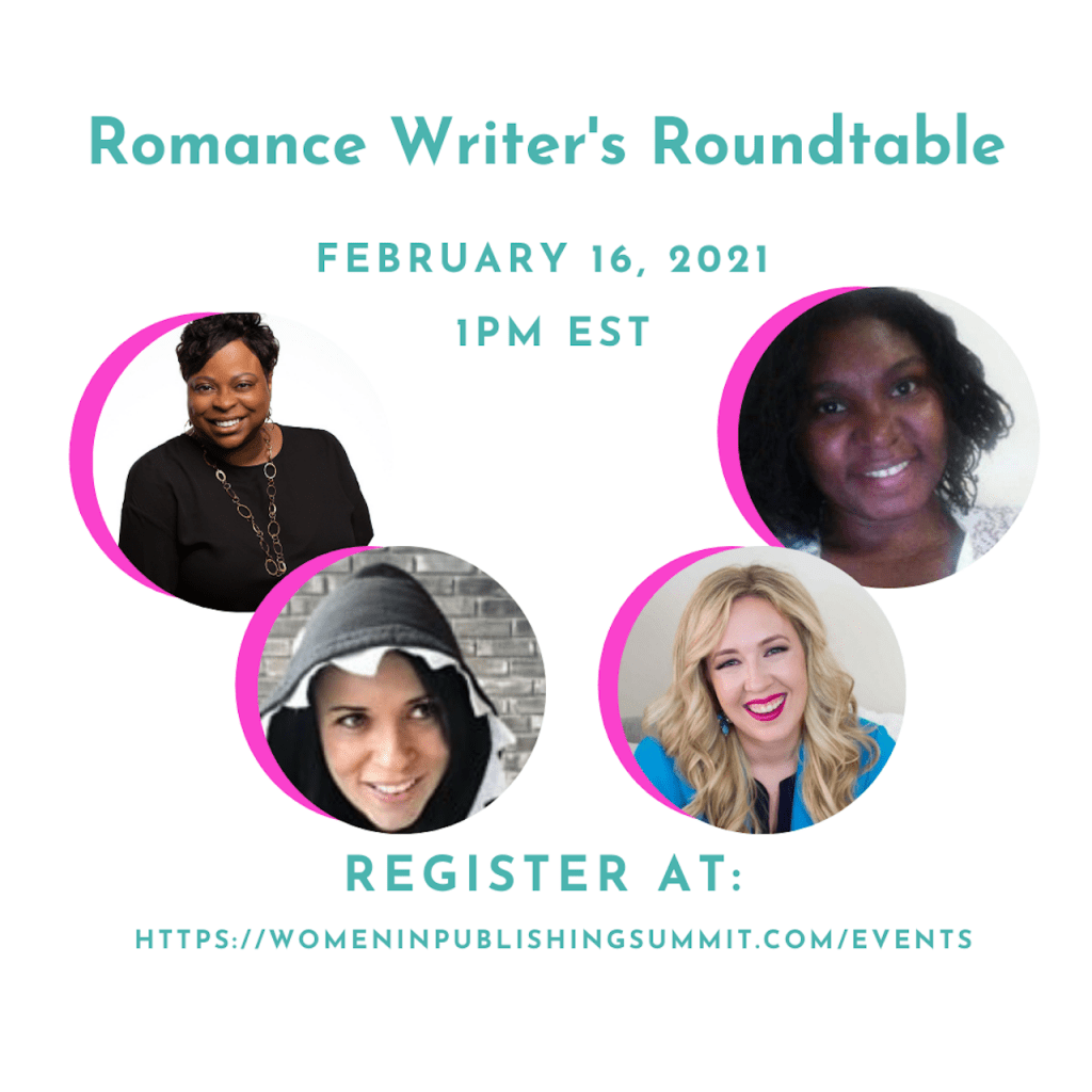Graphic featuring the speakers of the Romance Roundtable